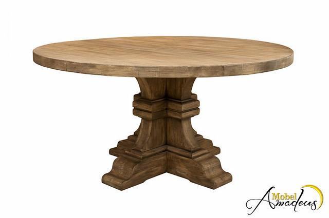 Masa cu picior rotunda din lemn masiv de stejar