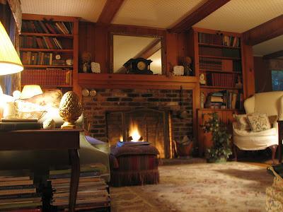 Camera cu semineu si biblioteca