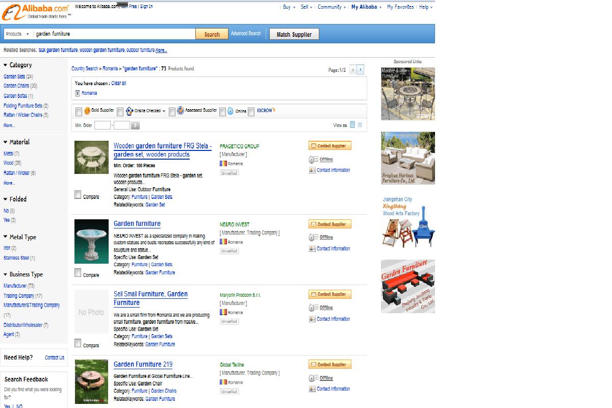 Pagina Alibaba de promovare a unor firme romanesti