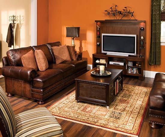 Idei de amenajare a living ului for Brown orange living room ideas