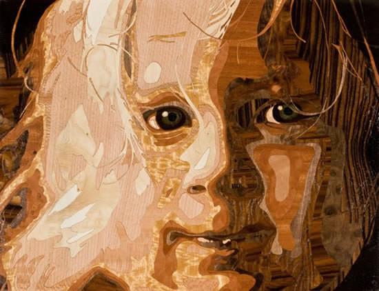 Portret din furnir de lemn