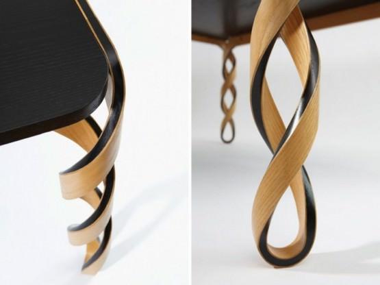 Masuta de cafea din lemn si carbon compozit, cu picioare rasucite