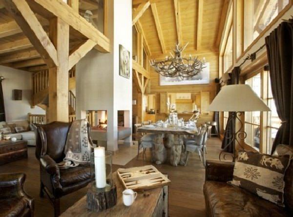 Cabana din lemn, casa de lemn, decor interior cu lemn