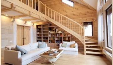 Casa de lemn, interior de lemn, design interior unitar