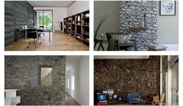 Decoratiuni pentru pereti de piatra naturala cu lemn masiv
