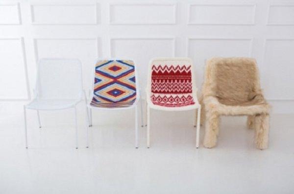 scaune cu tricotaje