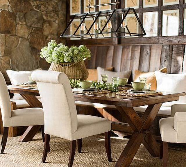 Masa rustica cu scaune tapitate cu piele ecologica - schimbarea stilului