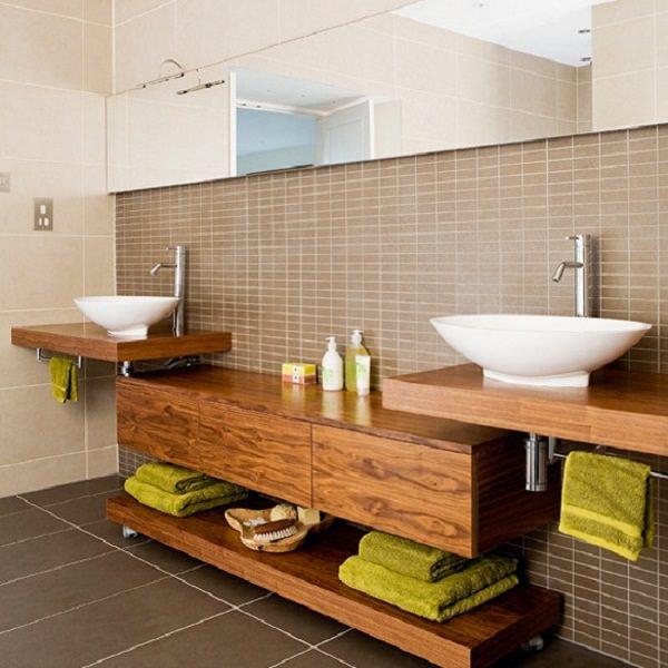 dualap din lemn pentru baie