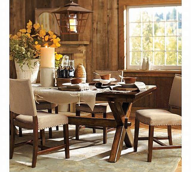 masa rustica cu scaune cu dubla tapiterie