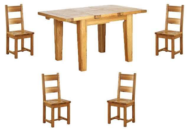 dining stil rustic cu scaune din lemn masiv