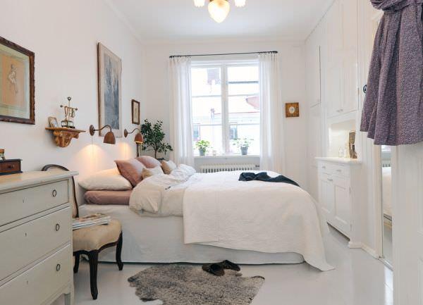 dormitor scandinav cu accente vintage