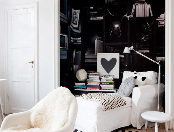 apartament scandinav alb si negru