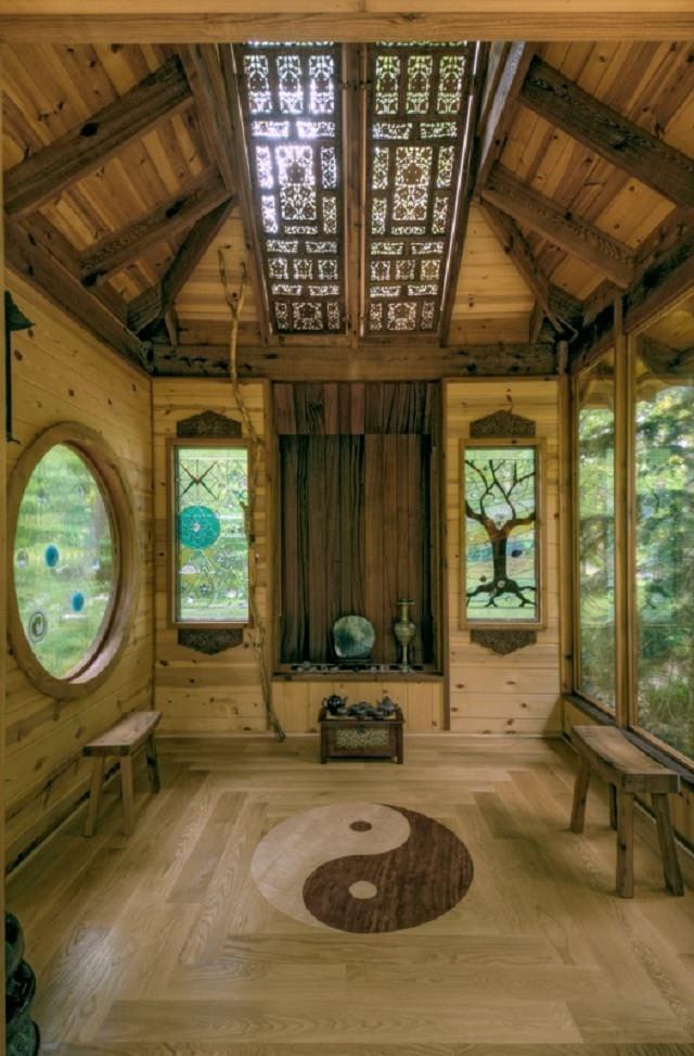 camera de meditat din stejar masiv
