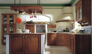 Mobila de bucătărie încastrată, zidită și cu fronturi din lemn masiv