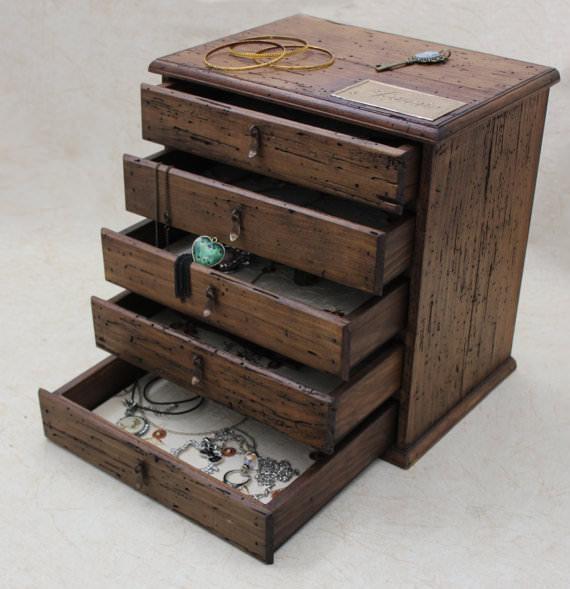 cutie de lemn  - casete de bijuterii