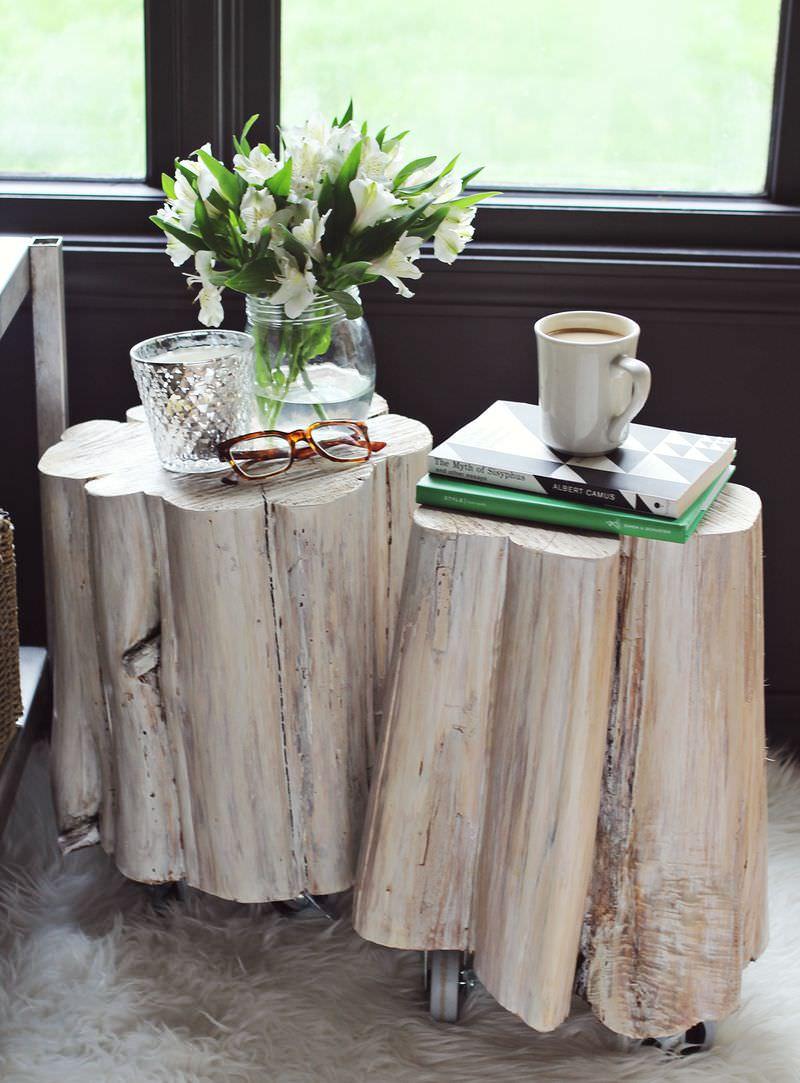 masute de cafea din butuci din lemn masiv
