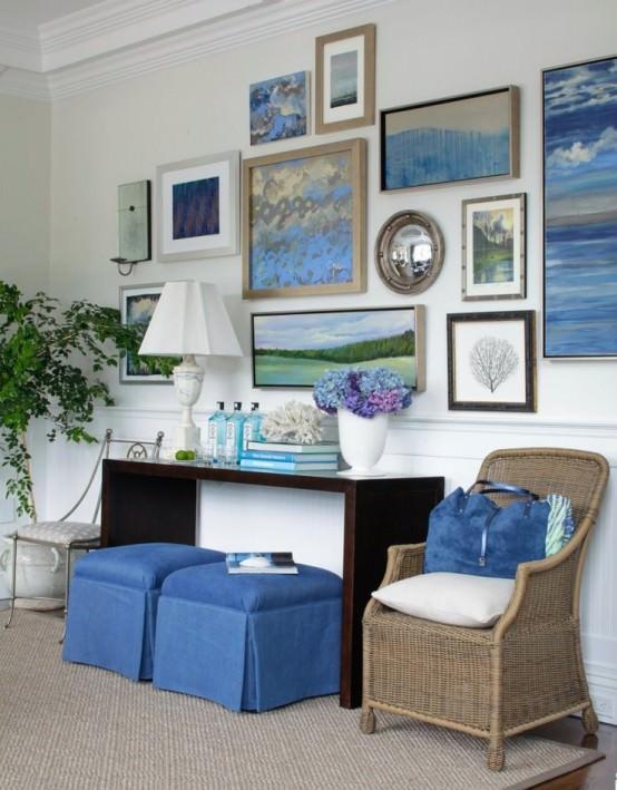livng room in nuante de albastru