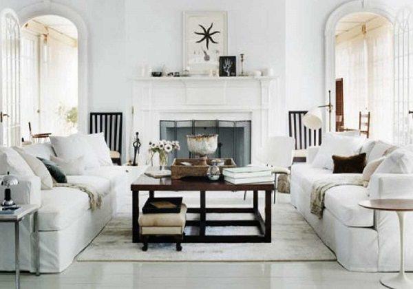 living alb modern cu elemente vintage -albele interioare