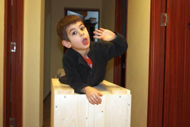 cutie de brad si un copil