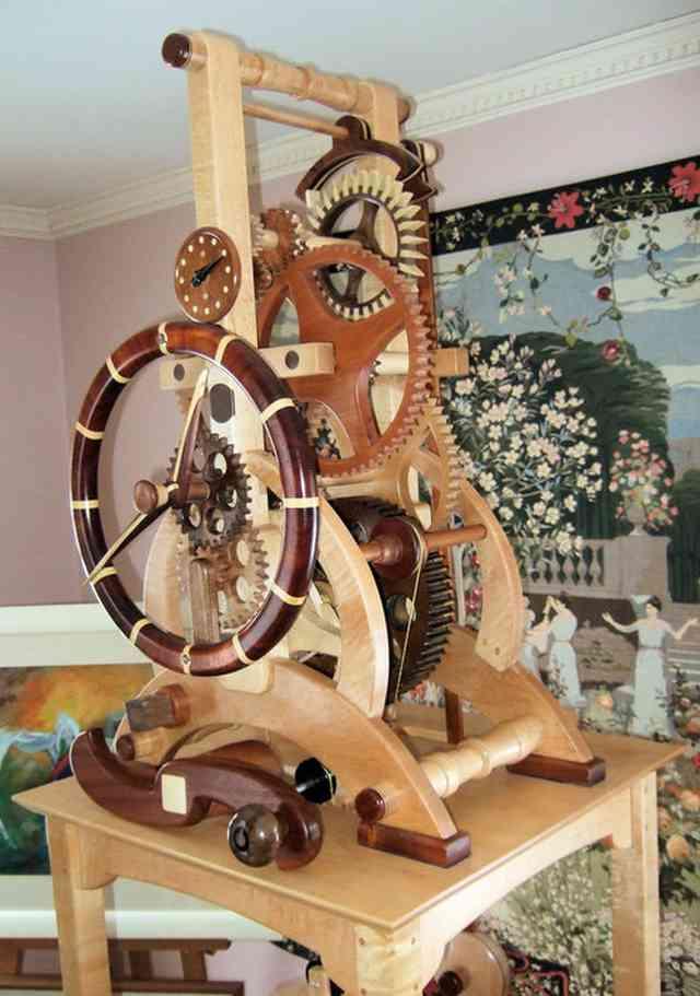 mecanism cu roti de lemn