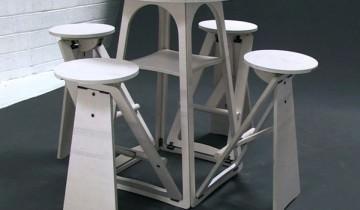 Masă modulară de bar din placaj, cu 4 scaune încorporate