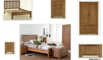 Set de dormitor din stejar natur