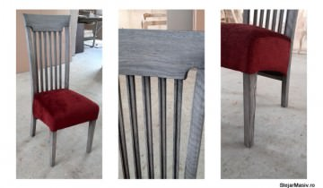 Scaun din stejar fabricat la comandă cu stofă bordeaux