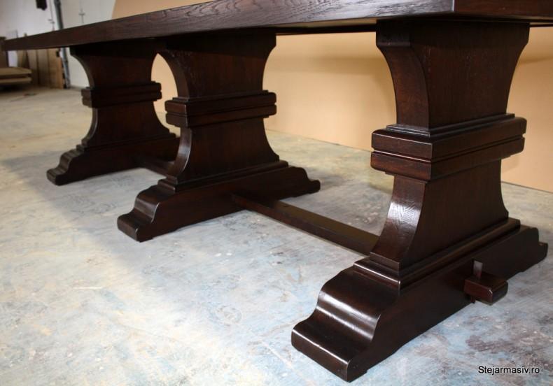 masa din stejar cu picior central - French Antik