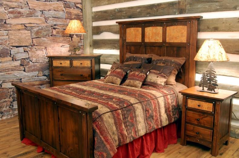 set dormitor din pat si noptiera din lemn