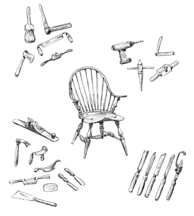schita producerii unui scaun Windsor