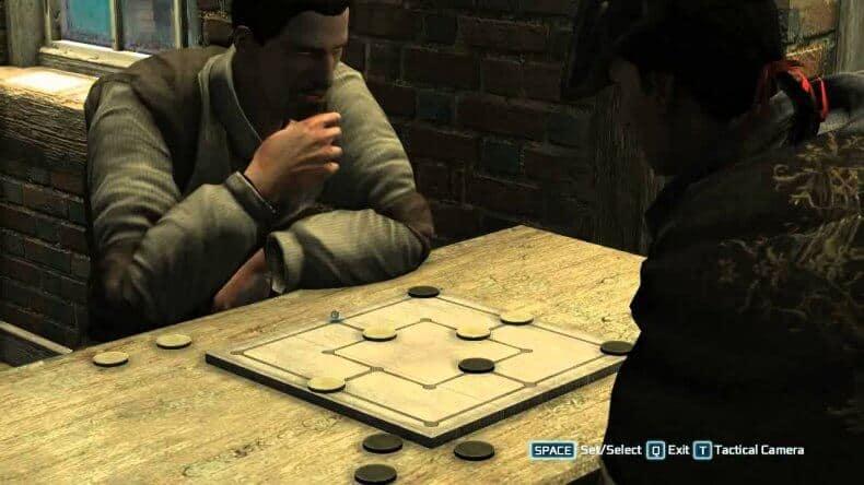 joc de moara pe tabla de lemn