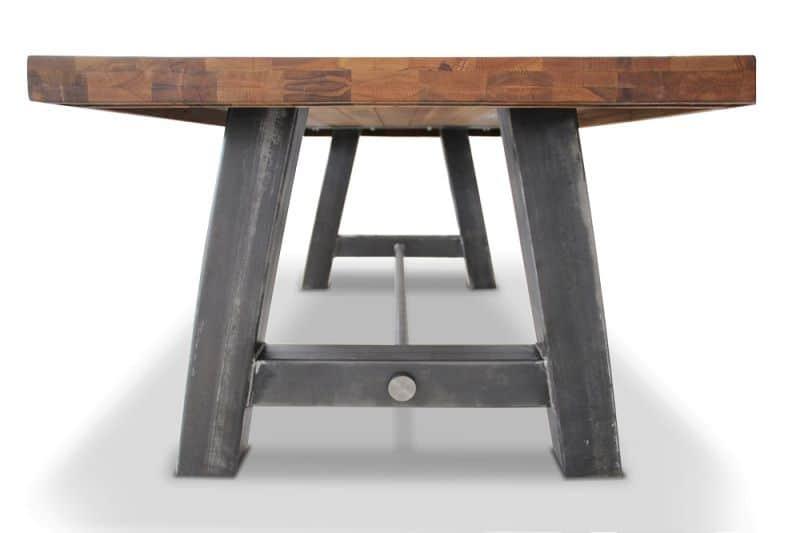 Masa Block - varianta de dining cu h=87 cm, picioare metalice si blat din lemn masiv de stejar
