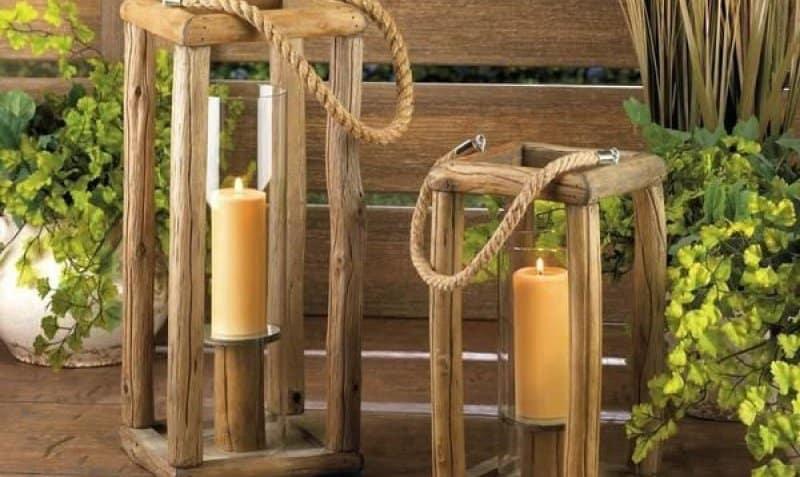 felinare din lemn rustic