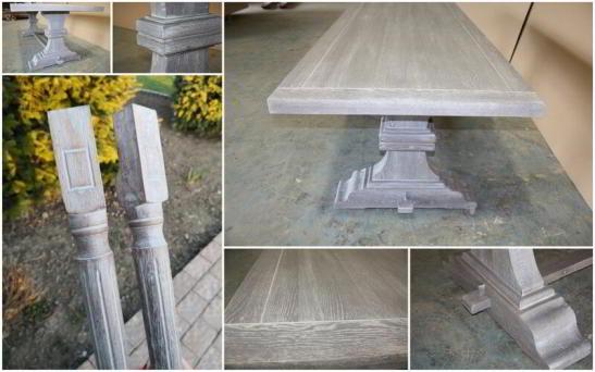 culorile dorite New Grey aplicat pe masa din lemn masiv model Britain