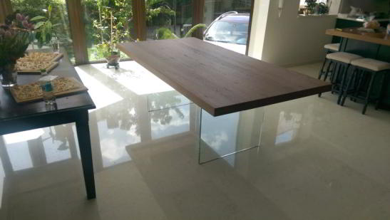 masa Oak Glass 220x100