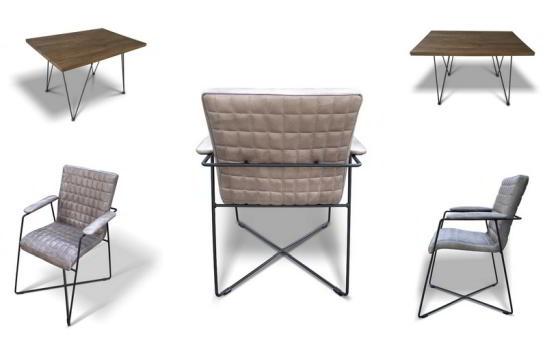 masa Staple si scaun Carlton lemn masiv metal piele naturala