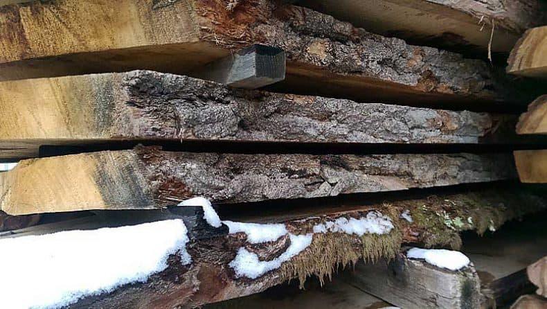 scândura de stejar în stive sub zăpadă