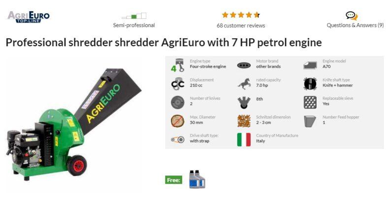 Agrieuro - tocator de crengi cu motor pe benzina